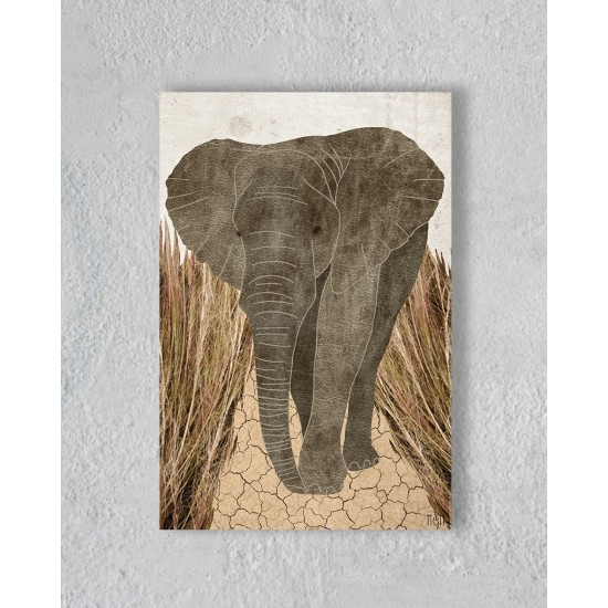Canvas Olifant in savane zonder Floating Frame