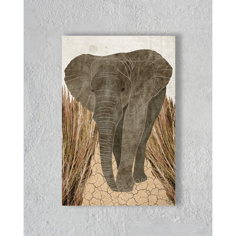 Canvas of Elephant in the  Savannah without Floating Frame
