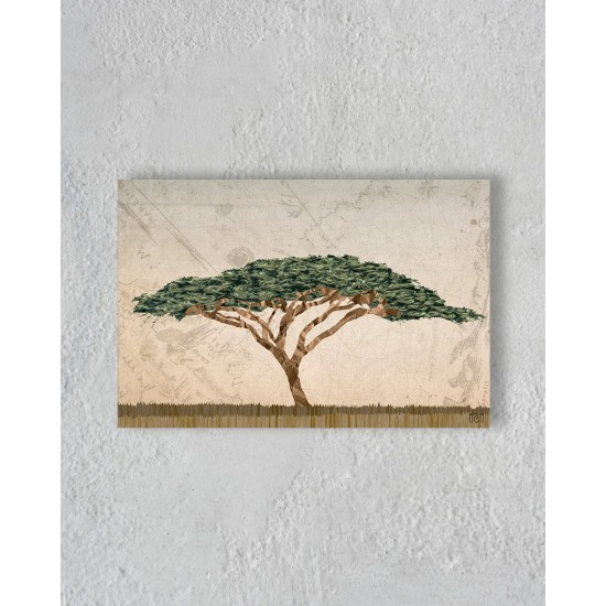 Canvas of a tree in the savannah without Floating Frame