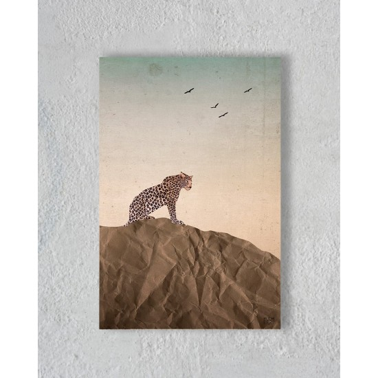 Canvas of a leopard in the savannah without Floating Frame