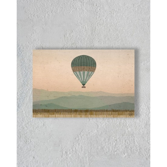Canvas of  air balloon in the savannah without Floating Frame
